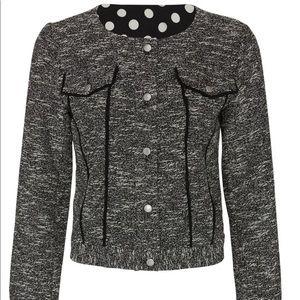 Black slate and willow tweed crop jacket